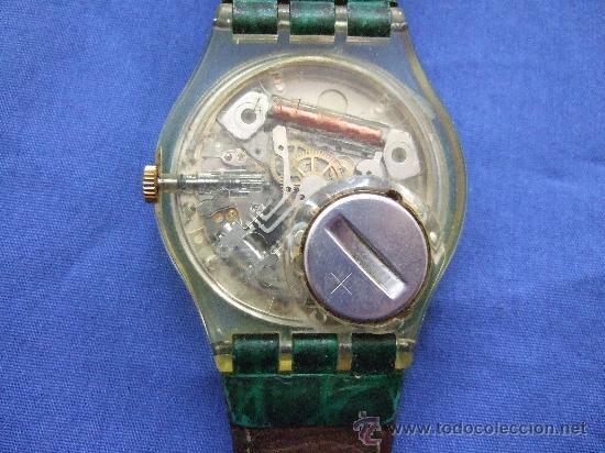Relojes - Swatch: RELOJ SWATCH - SWISS - CARCASA TRANSPARENTE, SE VE LA MAQUINARIA - NUMEROS COLOR VERDE - SIN PILA - Foto 2 - 25105052