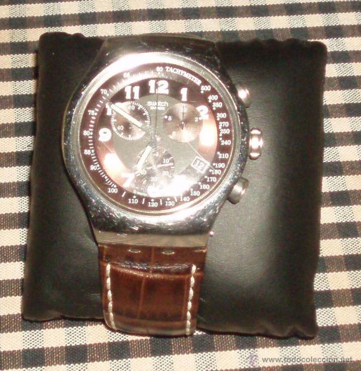 Relojes - Swatch: reloj swatch acero inoxidable esfera color negro y correa de piel marron - Foto 2 - 46210397