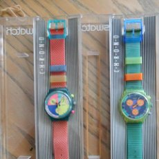 Relojes - Swatch: PAREJA DE PRIMEROS CHRONOS DE SWATCH. AÑOS 90.. Lote 51577476