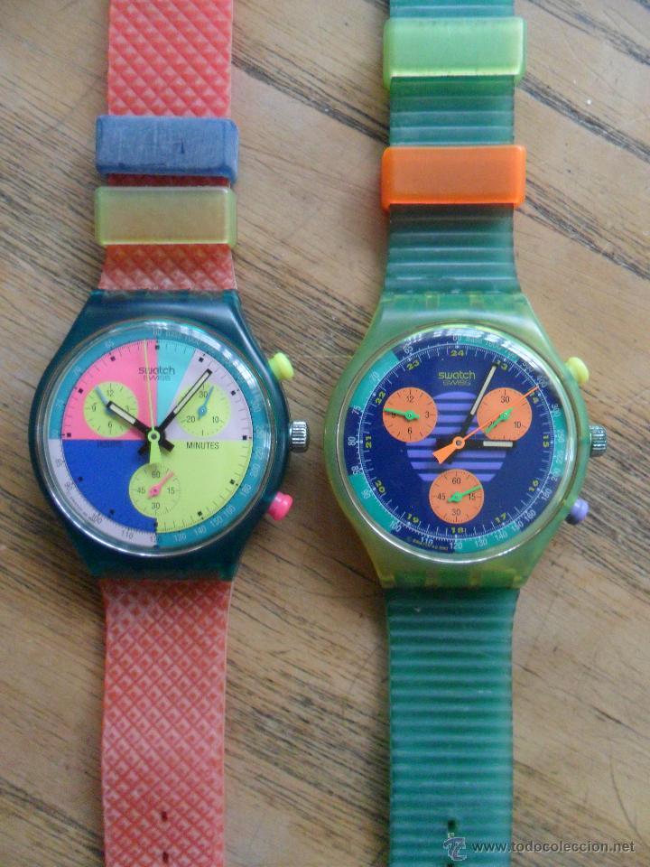Relojes - Swatch: Pareja de primeros chronos de Swatch. Años 90. - Foto 2 - 51577476
