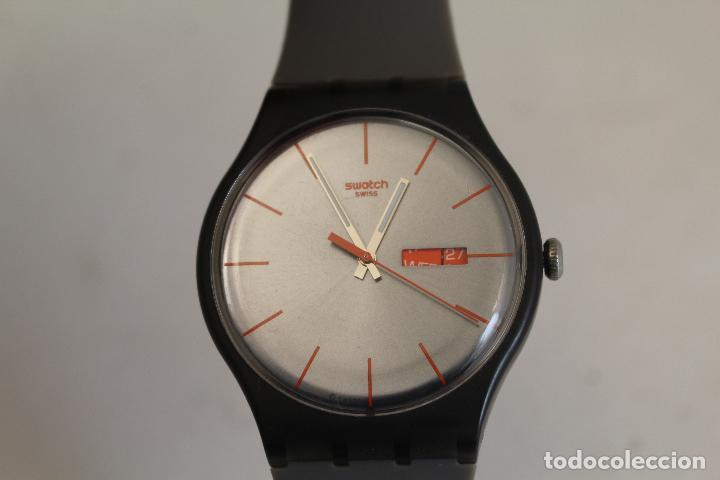 swatch, día/fecha, swiss mvmt, negro y rojo, sr - Comprar