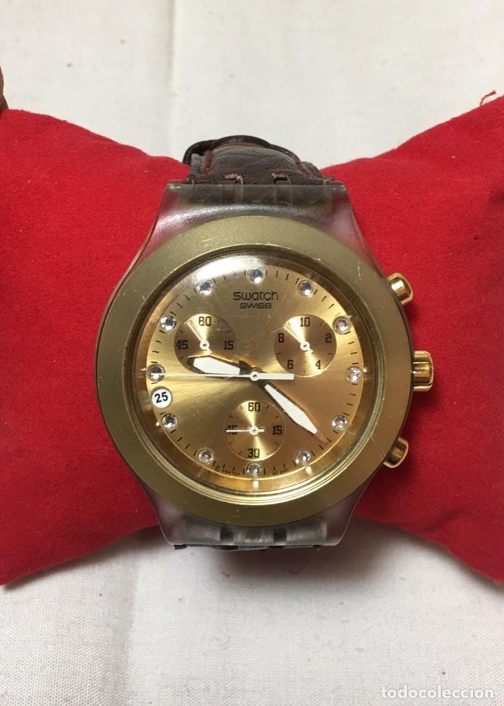 RELOJ DE PULSERA SWATCH SWISS IRONY DIAPHANE ALUMINIUM - CRONONOGRAFO Y CALENDARIO - FUNCIONANDO (Relojes - Relojes Actuales - Swatch)
