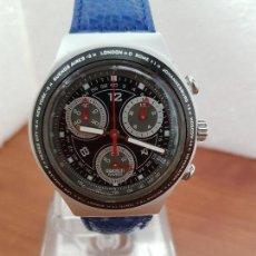 Relojes - Swatch: RELOJ CABALLERO SWATCH IRONY CRONO DE CUARZO SUIZO CORREA AZUL, FUNCIONANDO PARA SU USO DIARIO. Lote 154486642