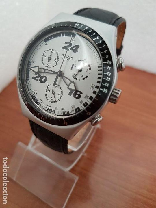 Relojes - Swatch: Reloj caballero SWATCH Irony crono de cuarzo Suizo correa negra, funcionando para su uso diario - Foto 2 - 154523210