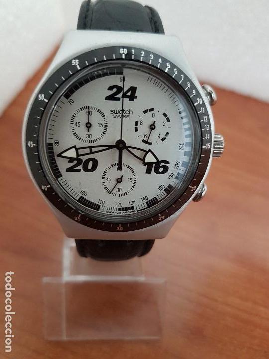 Reloj Correa Caballero Suizo NegraFuncionando Crono Su Swatch Irony Uso Cuarzo Para De Diario ulT1cFKJ3