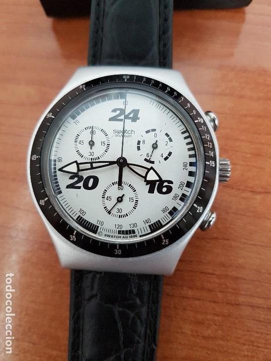 Relojes - Swatch: Reloj caballero SWATCH Irony crono de cuarzo Suizo correa negra, funcionando para su uso diario - Foto 8 - 154523210