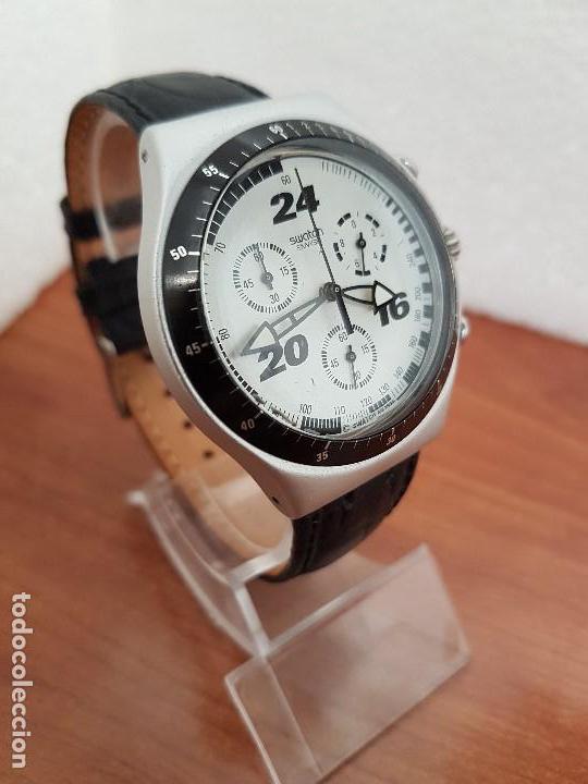 Relojes - Swatch: Reloj caballero SWATCH Irony crono de cuarzo Suizo correa negra, funcionando para su uso diario - Foto 10 - 154523210