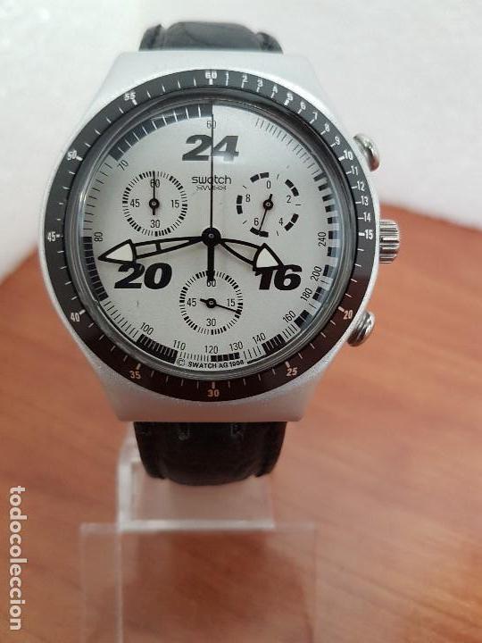 RELOJ CABALLERO SWATCH IRONY CRONO DE CUARZO SUIZO CORREA NEGRA, FUNCIONANDO PARA SU USO DIARIO (Relojes - Relojes Actuales - Swatch)