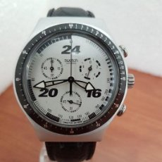 Relojes - Swatch: RELOJ CABALLERO SWATCH IRONY CRONO DE CUARZO SUIZO CORREA NEGRA, FUNCIONANDO PARA SU USO DIARIO. Lote 154523210