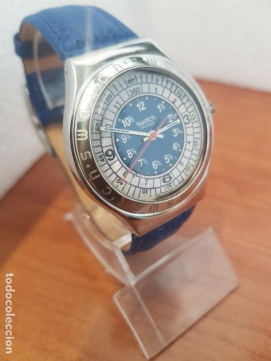 Relojes - Swatch: Reloj unisex SWATCH Irony de cuarzo Suizo correa original azul, funcionando para su uso diario - Foto 2 - 154775454