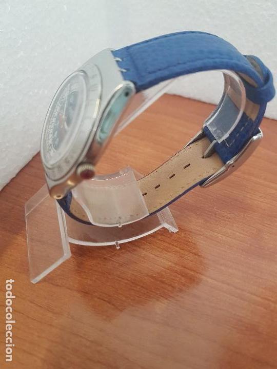 Relojes - Swatch: Reloj unisex SWATCH Irony de cuarzo Suizo correa original azul, funcionando para su uso diario - Foto 5 - 154775454