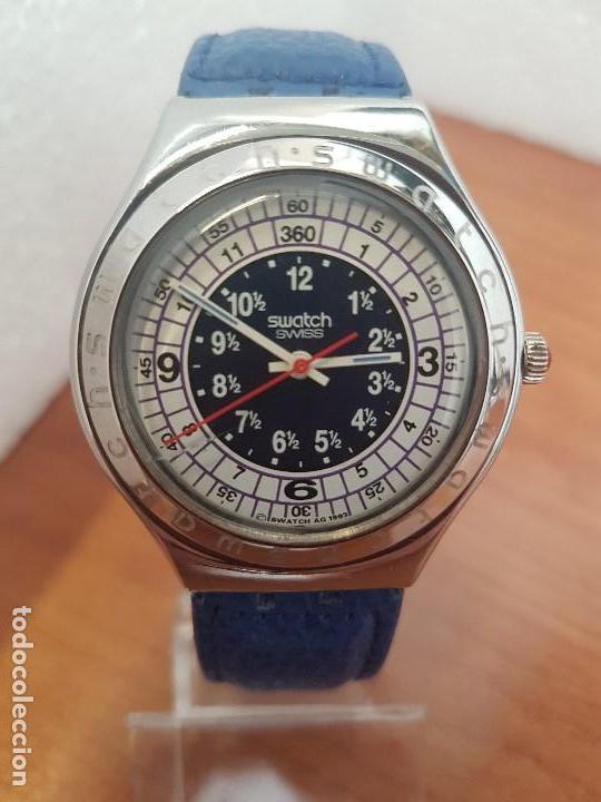 Relojes - Swatch: Reloj unisex SWATCH Irony de cuarzo Suizo correa original azul, funcionando para su uso diario - Foto 7 - 154775454