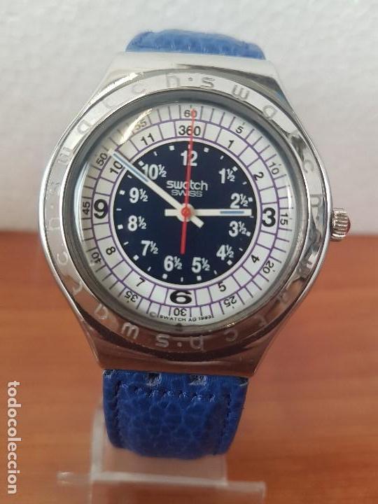 Relojes - Swatch: Reloj unisex SWATCH Irony de cuarzo Suizo correa original azul, funcionando para su uso diario - Foto 8 - 154775454