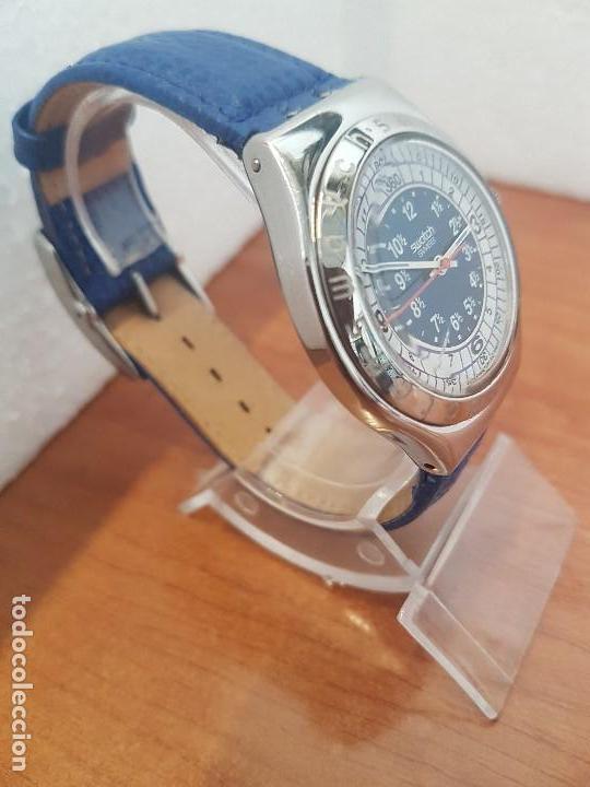 Relojes - Swatch: Reloj unisex SWATCH Irony de cuarzo Suizo correa original azul, funcionando para su uso diario - Foto 9 - 154775454