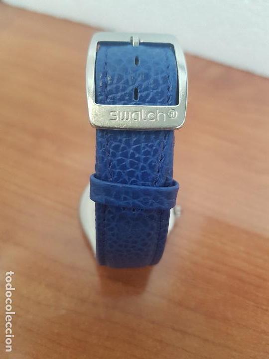Relojes - Swatch: Reloj unisex SWATCH Irony de cuarzo Suizo correa original azul, funcionando para su uso diario - Foto 13 - 154775454