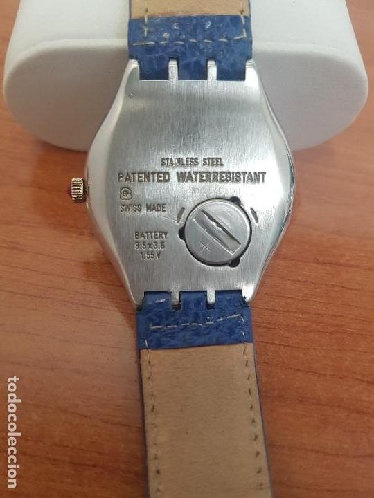 Relojes - Swatch: Reloj unisex SWATCH Irony de cuarzo Suizo correa original azul, funcionando para su uso diario - Foto 15 - 154775454