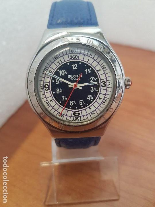 RELOJ UNISEX SWATCH IRONY DE CUARZO SUIZO CORREA ORIGINAL AZUL, FUNCIONANDO PARA SU USO DIARIO (Relojes - Relojes Actuales - Swatch)