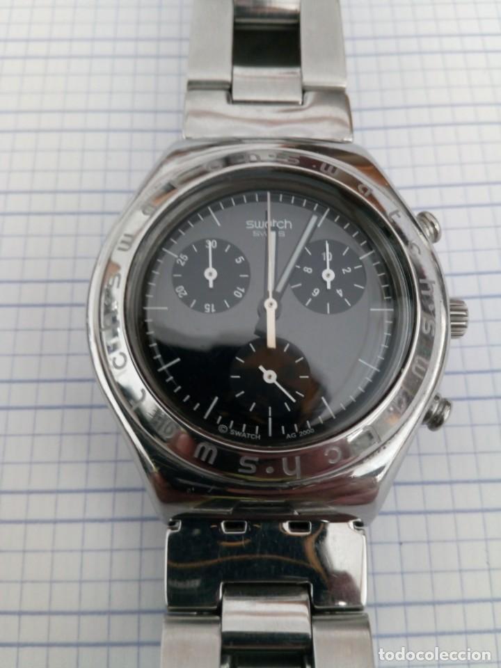 Relojes - Swatch: Cronografo Swatch esfera negra AG2000 todo acero inox funcionando reloj crono en buen estado - Foto 2 - 168259044