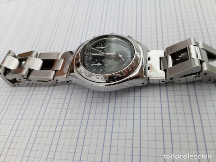 Relojes - Swatch: Cronografo Swatch esfera negra AG2000 todo acero inox funcionando reloj crono en buen estado - Foto 3 - 168259044