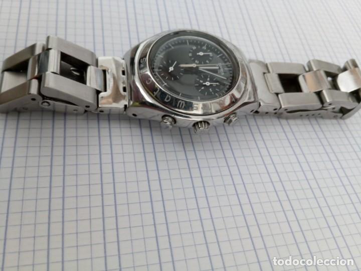 Relojes - Swatch: Cronografo Swatch esfera negra AG2000 todo acero inox funcionando reloj crono en buen estado - Foto 4 - 168259044