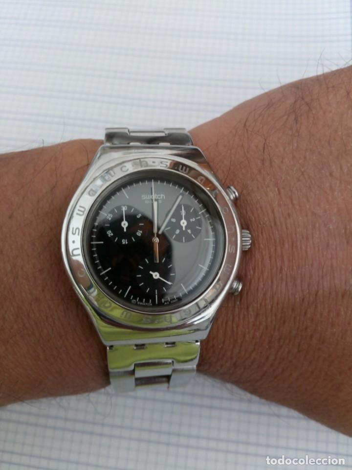 Relojes - Swatch: Cronografo Swatch esfera negra AG2000 todo acero inox funcionando reloj crono en buen estado - Foto 6 - 168259044