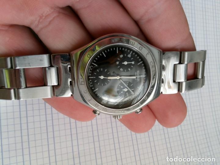 Relojes - Swatch: Cronografo Swatch esfera negra AG2000 todo acero inox funcionando reloj crono en buen estado - Foto 8 - 168259044
