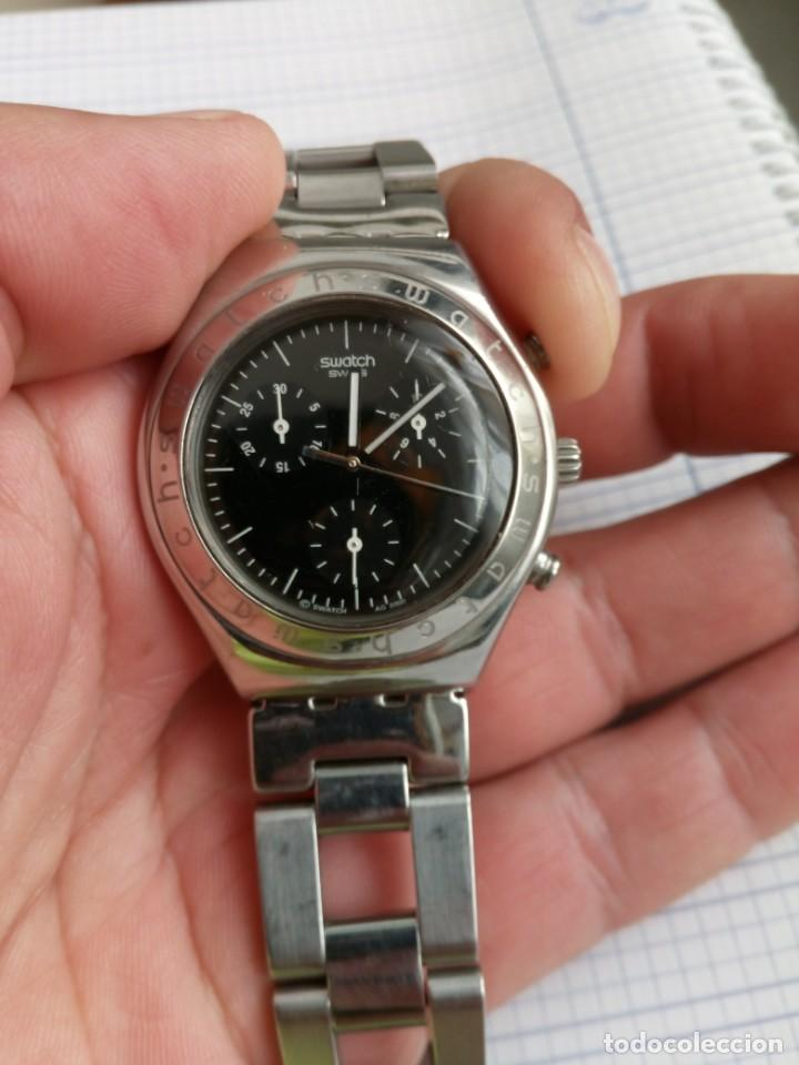 Relojes - Swatch: Cronografo Swatch esfera negra AG2000 todo acero inox funcionando reloj crono en buen estado - Foto 9 - 168259044