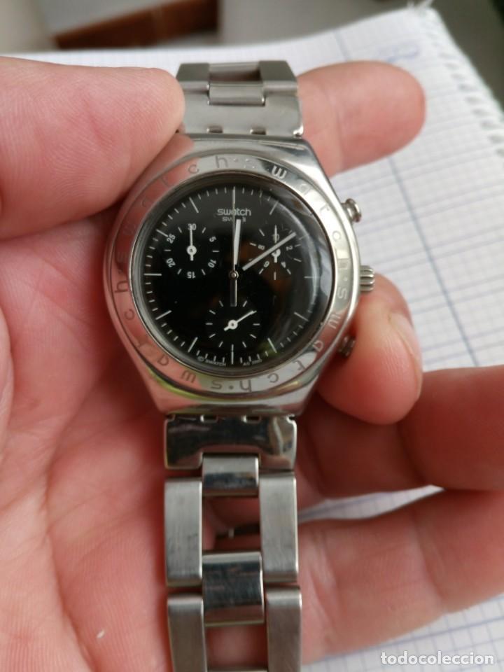 CRONOGRAFO SWATCH ESFERA NEGRA AG2000 TODO ACERO INOX FUNCIONANDO RELOJ CRONO EN BUEN ESTADO (Relojes - Relojes Actuales - Swatch)