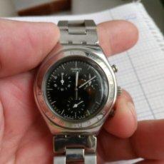 Relojes - Swatch: CRONOGRAFO SWATCH ESFERA NEGRA AG2000 TODO ACERO INOX FUNCIONANDO RELOJ CRONO EN BUEN ESTADO. Lote 168259044