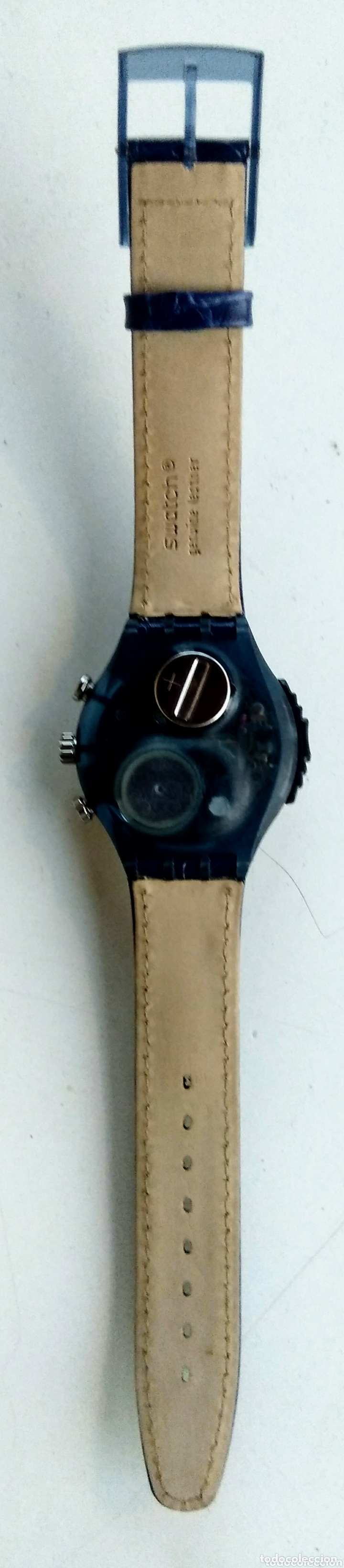 Relojes - Swatch: Reloj Swatch. Ag. 1997. Nuevo. Cuero azul. - Foto 3 - 173533978