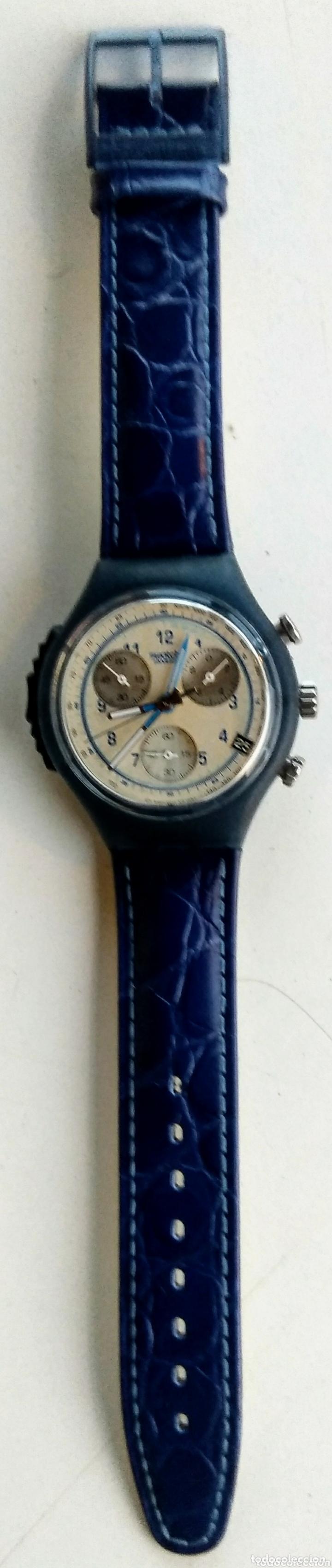 Relojes - Swatch: Reloj Swatch. Ag. 1997. Nuevo. Cuero azul. - Foto 2 - 173533978