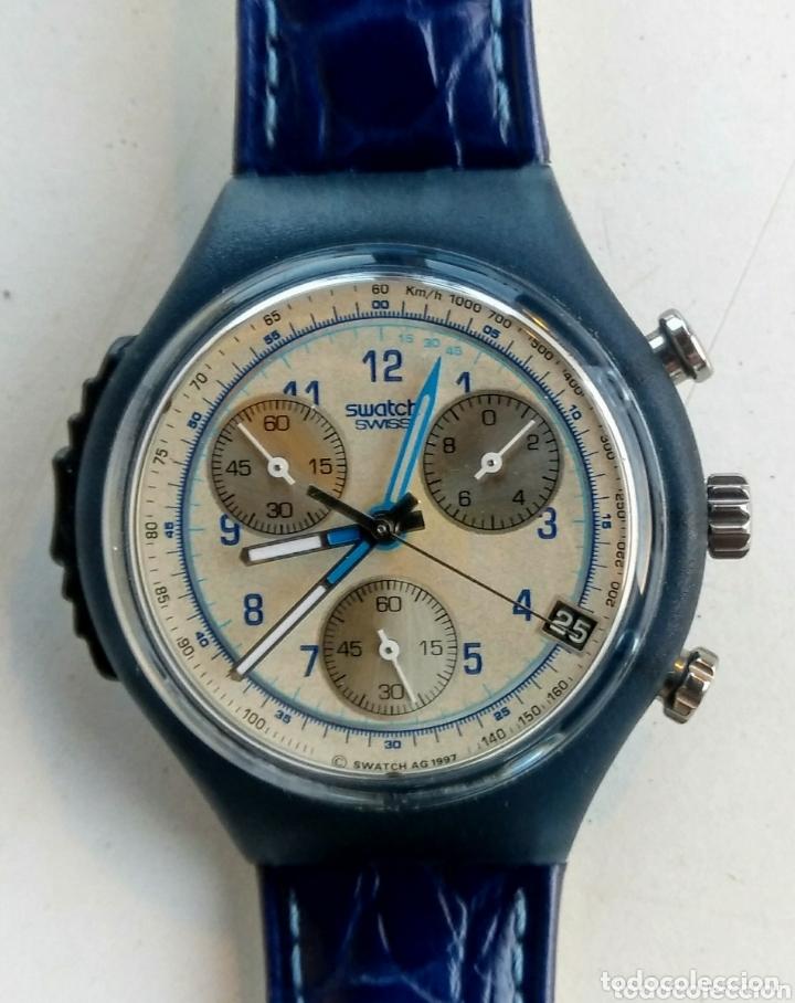 RELOJ SWATCH. AG. 1997. NUEVO. CUERO AZUL. (Relojes - Relojes Actuales - Swatch)