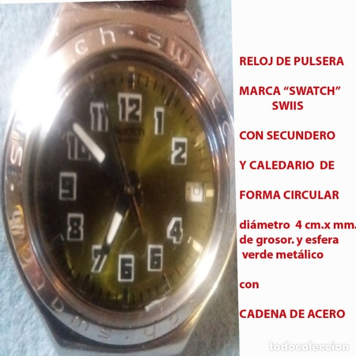 RELOJ SWATCH SWISS, RESIST. AL AGUA, NºS. ARABIGOS, ESFERA VERDE, SECUNDERO Y CALENDARIO.SEMINUEVO. (Relojes - Relojes Actuales - Swatch)
