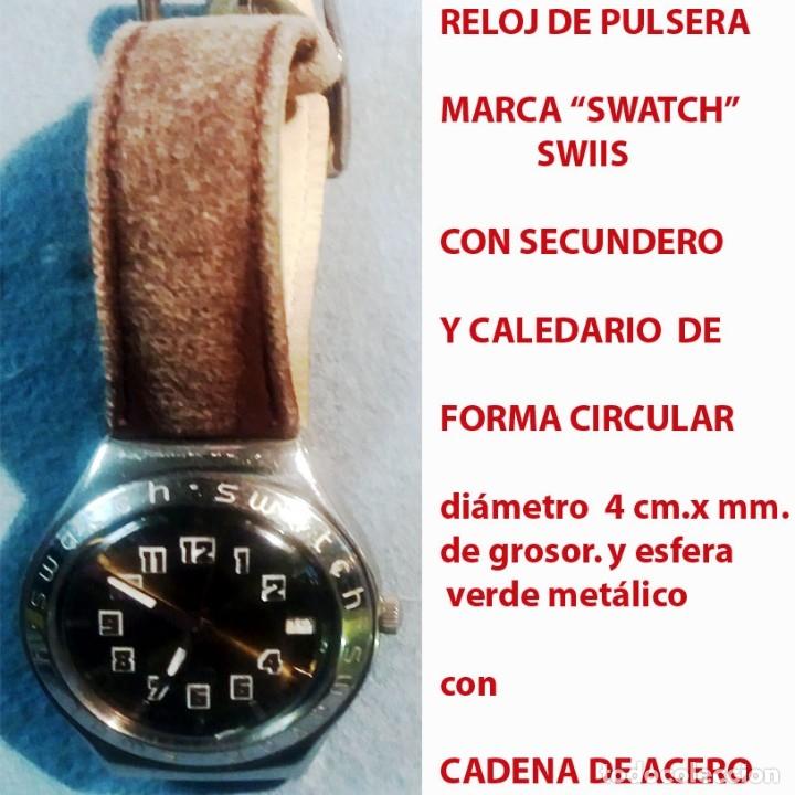 Relojes - Swatch: RELOJ SWATCH SWISS, RESIST. AL AGUA, NºS. ARABIGOS, ESFERA VERDE, SECUNDERO Y CALENDARIO.SEMINUEVO. - Foto 2 - 178271538
