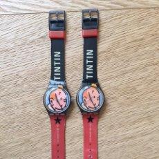 Relojes - Swatch: 2 RELOJES SWATCH TINTÍN 75 ANIVERSARIO. Lote 186122117