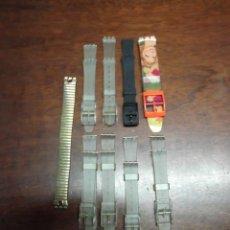 Relojes - Swatch: CORREAS DE RELOJ SWATCH EN PLÁSTICO TRANSPARENTE,NEGRO,COLORES Y METAL PEQUEÑAS Y GRANDES. Lote 191198200