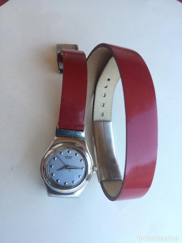 Relojes - Swatch: RELOJ DE MUJER SWATCH IRONY CORREA DE PIEL LARGA DOBLE PULSERA - FUNCIONANDO - Foto 2 - 193445703