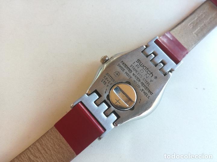 Relojes - Swatch: RELOJ DE MUJER SWATCH IRONY CORREA DE PIEL LARGA DOBLE PULSERA - FUNCIONANDO - Foto 5 - 193445703