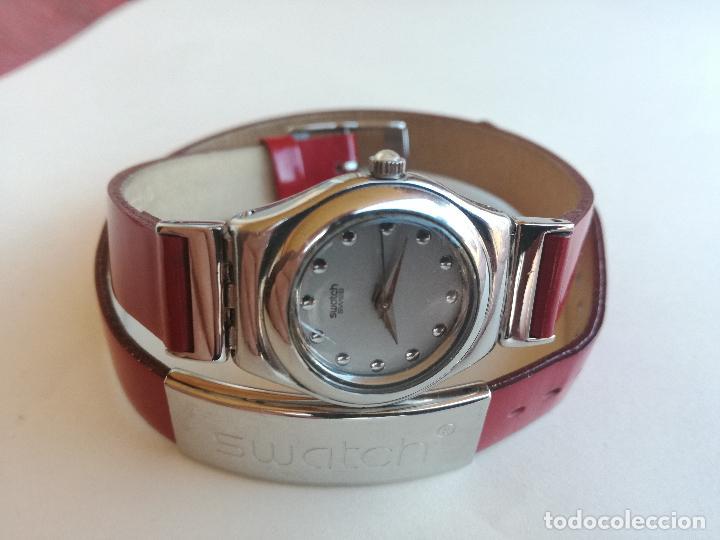 RELOJ DE MUJER SWATCH IRONY CORREA DE PIEL LARGA DOBLE PULSERA - FUNCIONANDO (Relojes - Relojes Actuales - Swatch)