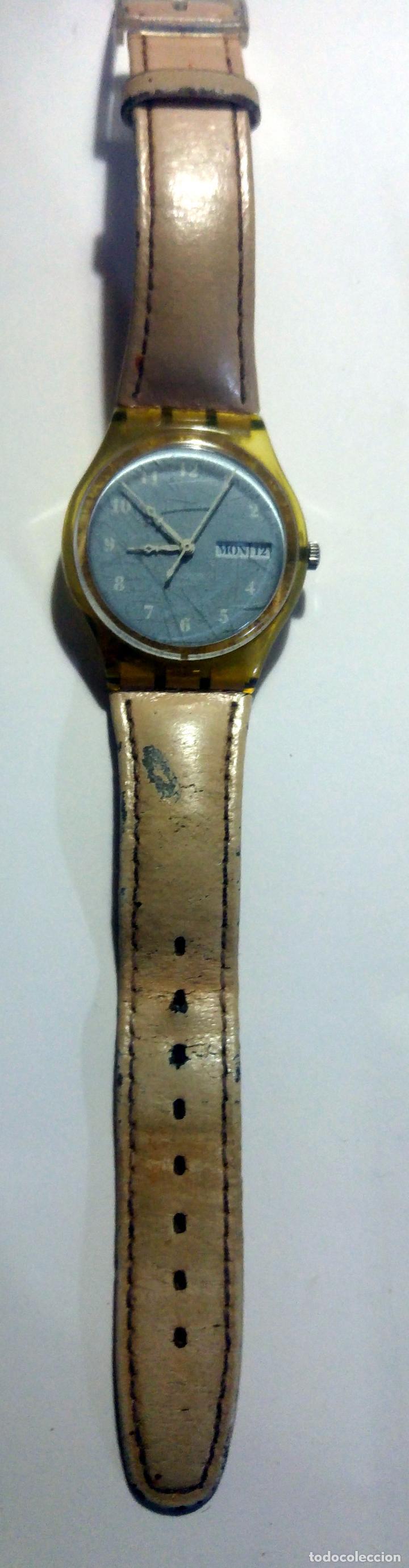 Relojes - Swatch: Reloj swatch 4x3,5cms. Con Calendario Swiss. Correa original de piel - Foto 5 - 194507918