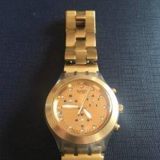 Relojes - Swatch: RELOJ SWATCH PULSERA, PARA MUJER, DORADO, 2007, ESFERA 4 CM.. Lote 200639296