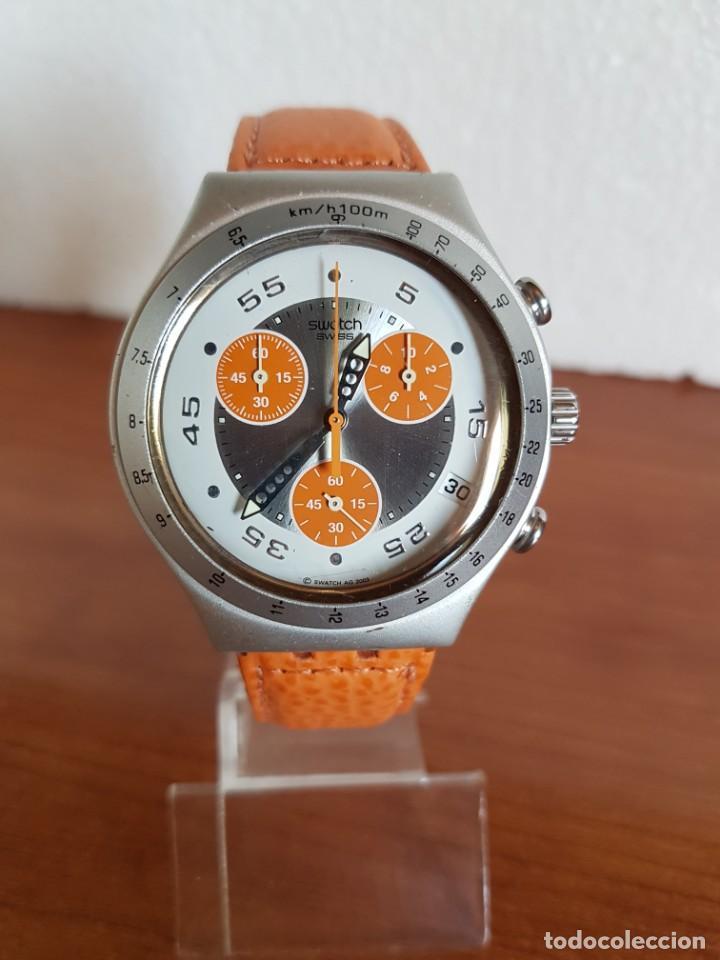 RELOJ CABALLERO SWATCH IRONY CRONO DE CUARZO SUIZO CORREA NARANJA, FUNCIONANDO PARA SU USO DIARIO. (Relojes - Relojes Actuales - Swatch)