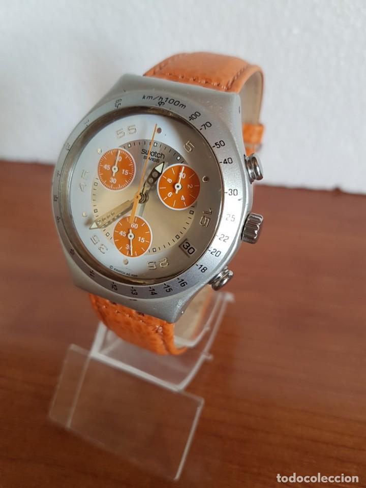 Relojes - Swatch: Reloj caballero SWATCH Irony crono de cuarzo Suizo correa naranja, funcionando para su uso diario. - Foto 2 - 202584145