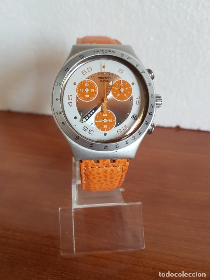 Relojes - Swatch: Reloj caballero SWATCH Irony crono de cuarzo Suizo correa naranja, funcionando para su uso diario. - Foto 3 - 202584145