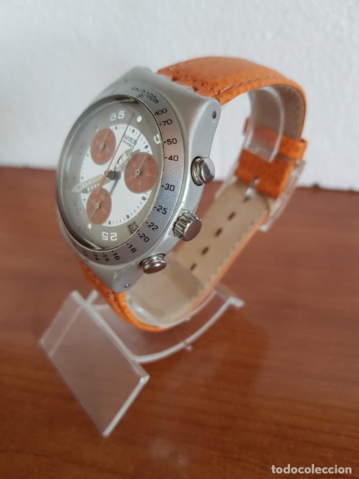 Relojes - Swatch: Reloj caballero SWATCH Irony crono de cuarzo Suizo correa naranja, funcionando para su uso diario. - Foto 4 - 202584145