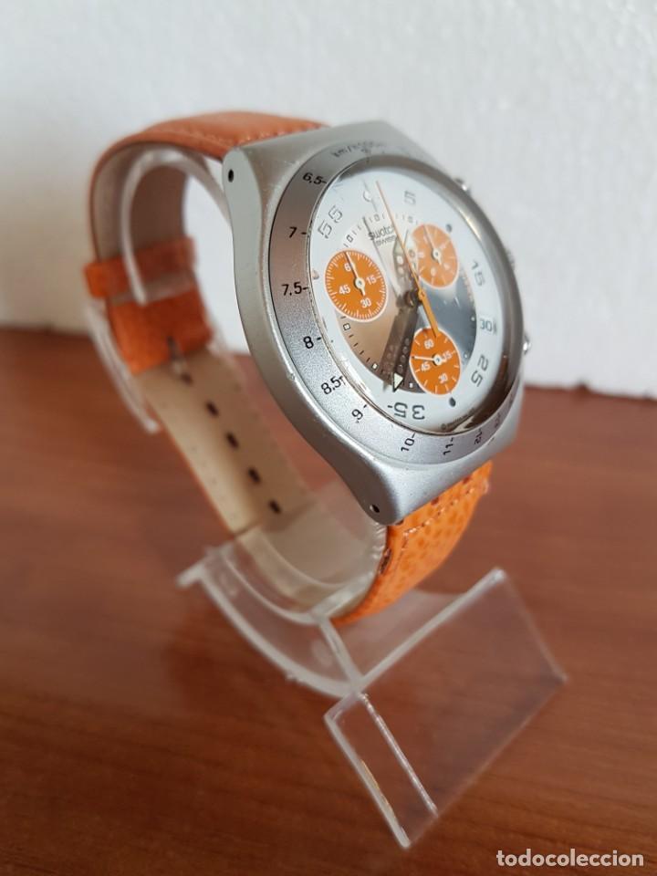 Relojes - Swatch: Reloj caballero SWATCH Irony crono de cuarzo Suizo correa naranja, funcionando para su uso diario. - Foto 5 - 202584145