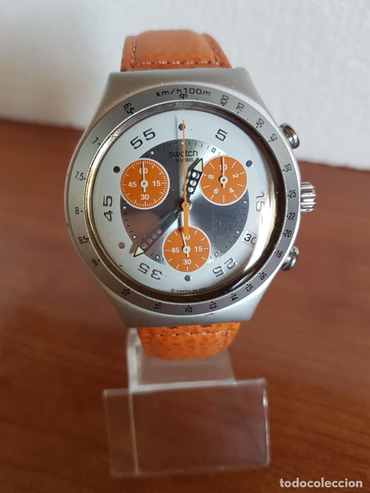 Relojes - Swatch: Reloj caballero SWATCH Irony crono de cuarzo Suizo correa naranja, funcionando para su uso diario. - Foto 7 - 202584145