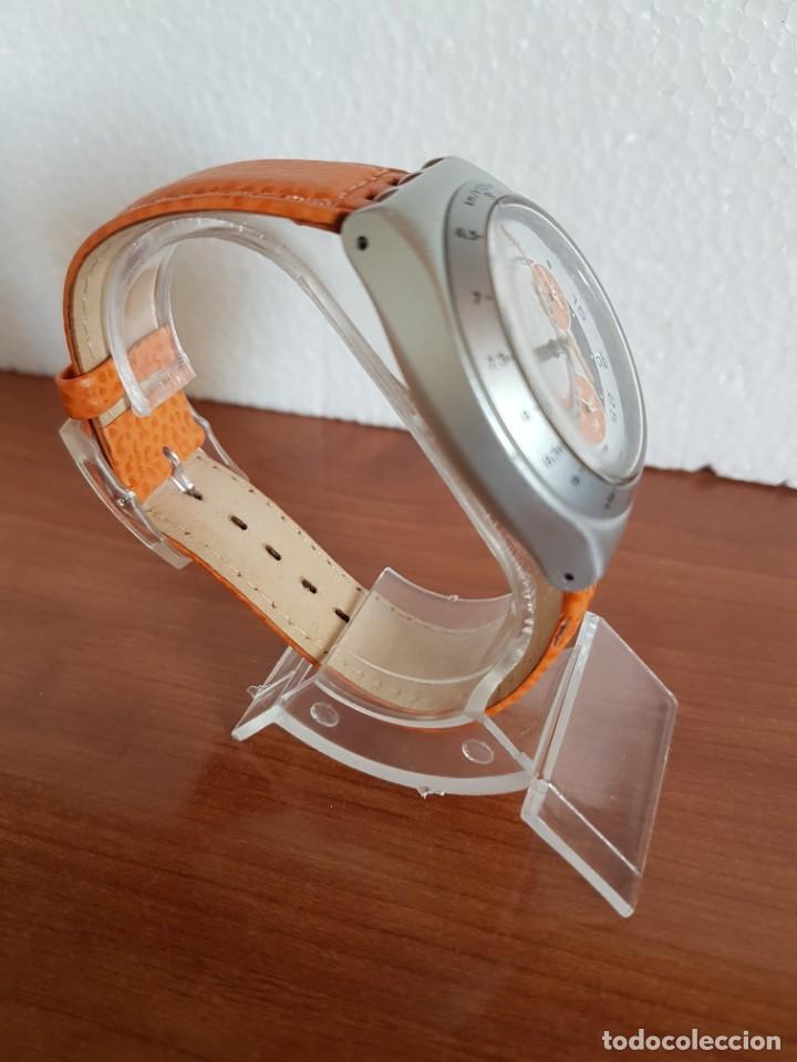 Relojes - Swatch: Reloj caballero SWATCH Irony crono de cuarzo Suizo correa naranja, funcionando para su uso diario. - Foto 8 - 202584145