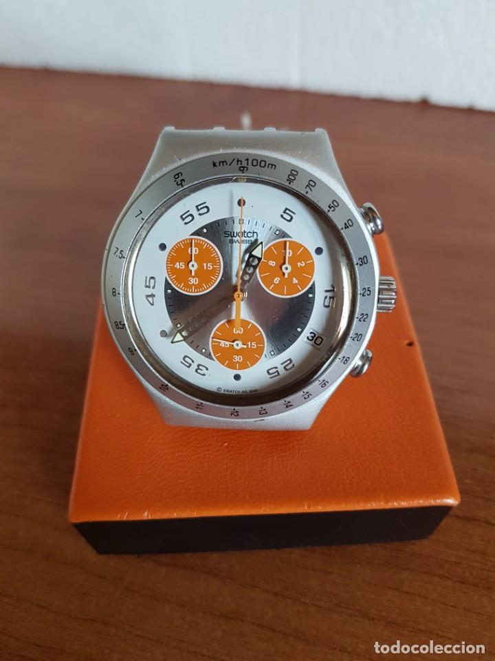 Relojes - Swatch: Reloj caballero SWATCH Irony crono de cuarzo Suizo correa naranja, funcionando para su uso diario. - Foto 11 - 202584145
