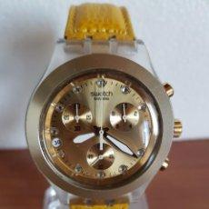 Relojes - Swatch: RELOJ CABALLERO SWATCH IRONY CRONO DE CUARZO SUIZO CORREA AMARILLA, FUNCIONANDO PARA SU USO DIARIO.. Lote 202658552